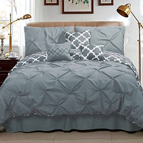 Sweet Home Collection 7 Piece Pinch Pleat Decorative Pin tuck Solid To Reversible Lattice Print Fashion Comforter Set, Full/Queen, Gray/White (Full Comforters compare prices)