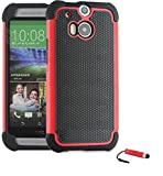 TeKKno® HTC ONE M8 Protective Shock Proof Stylish Dual Case Cover + LCD Guard + Stylus Touch Pen / Red