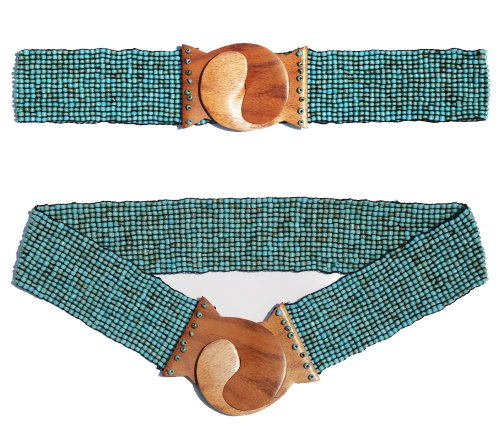 """Antique Turquoise Hand-made Elastic Stretchy Beaded Bali Belt with Wooden Hook Buckle - 2 1/4"""" Wide Belt"""