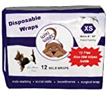 Wiki Wags Brand 12 Extra Small Disposable Male Dog Wraps with Free Aloe Wet Wipes