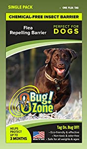 0Bug!Zone 1 Piece Flea Barrier Tag for Dogs