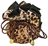 Leopard Furry Animal Print Drawstring Jewelry Pouch Tote Organizer Cinch Bag