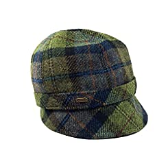 Irish Hat-Flapper Style-Green Plaid Wool