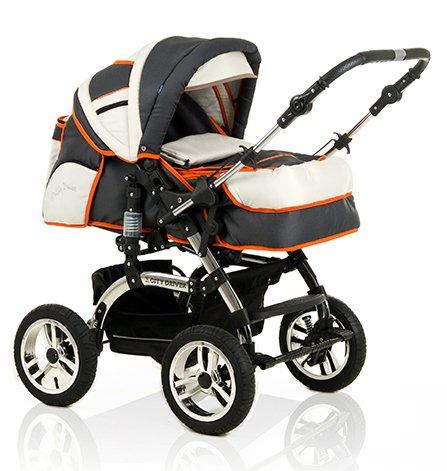 15-teiliges-Qualitts-Kinderwagenset-2-in-1-CITY-DRIVER-Kinderwagen-Buggy-all-inclusive-Paket-in-Farbe-ANTHRAZITE-CREME-ORANGE