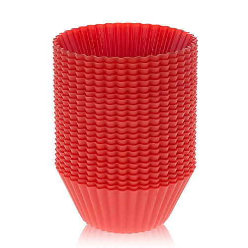 LAVAVIDA Silicone Cupcake Liners Red, 24 Pack Muffin Holders, Resuable and Nonstick Baking Cups, Standard Size Cake Molds