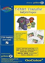 Gocolor TShirt Transfer Inkjet Paper - A4, 120 GSM, 5 sheets