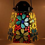EarthenMetal Handcrafted Multicoloured Hexagonal Shaped Glass Hanging Candle Light