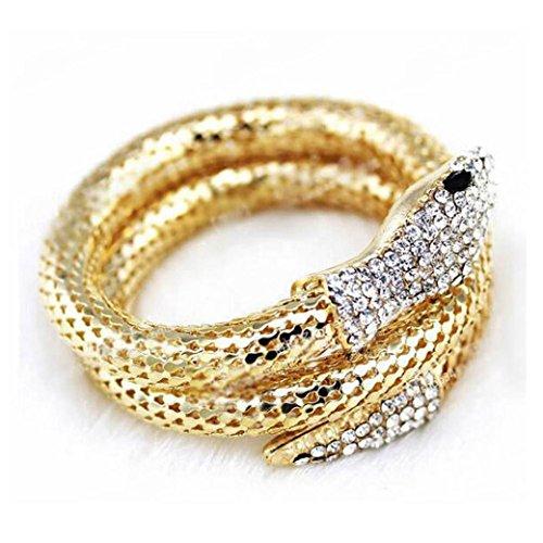 Oyedens donne punk Snake Bracciale elastico curva con strass e cristalli, Gold, Taglia unica