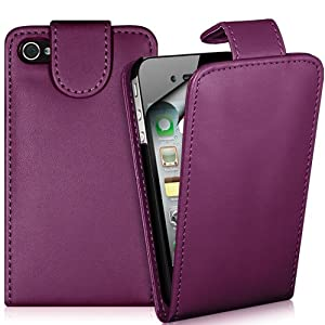 Supergets® Apple Iphone 4 4s Purple Slim Top Flip Leather Case, Screen Protector And Polishing Cloth