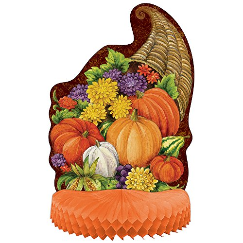 "14"" Honeycomb Horn of Plenty Thanksgiving Decoration"
