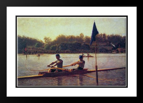 The Biglin Brothers Turning the Stake 25x29 Framed and Double Matted Art Print by Eakins, Thomas (Biglin Brothers compare prices)