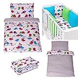 Sevira Kids - Juego de cama infantil reversible de 2 piezas (100% algodón ecológico), diseño de pájaros y corazones gris gris Talla:90 x 120