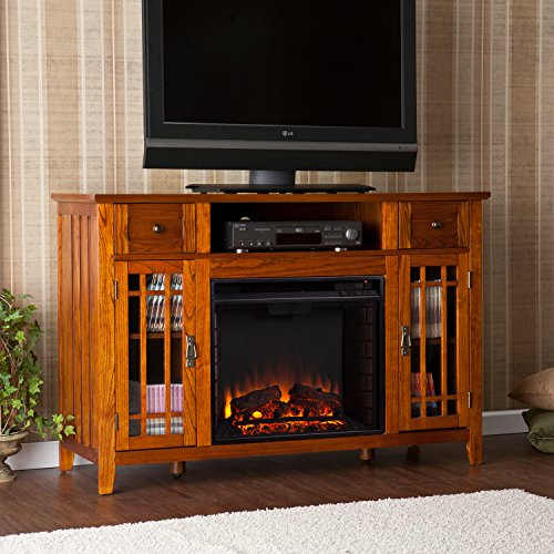 "50"" Wood Media Electric Fireplace Tv Console Stand , Oak Finish"