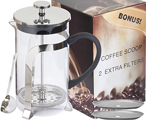 Haute Glass French Press Coffee Maker with 2 Extra Filters and Coffee Scoop, 1L (Glass)