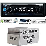Mercedes-CLK-W208-Kenwood-KDC-100UB-CDMP3USB-iPodAndroid-Steuerung-Autoradio-Einbauset