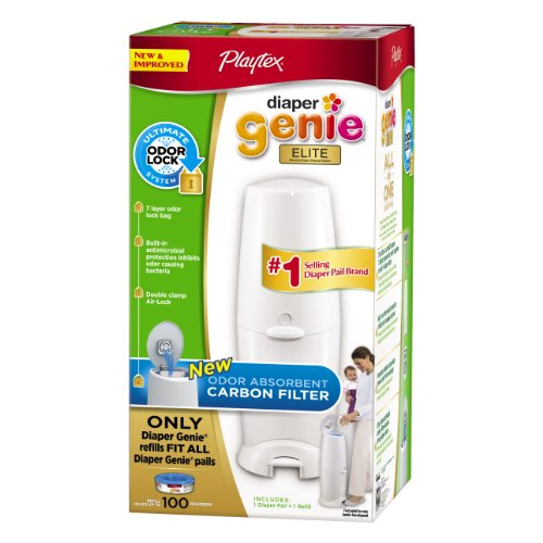 51XfDHDxiQL Playtex Diaper Genie Elite Pail System with Odor Lock Carbon Filter, 100 Count