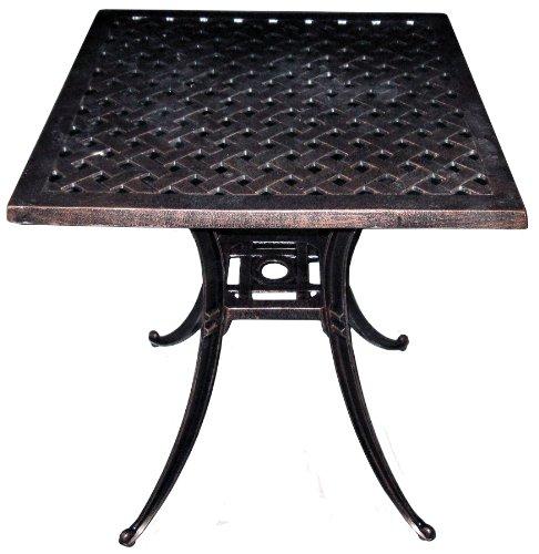 American Trading Company Weave Design Antique Bronze Solid Cast Aluminum Square Table, 24