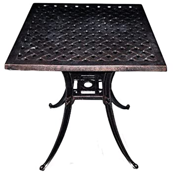 "American Trading Company Weave Design Antique Bronze Solid Cast Aluminum Square Table, 24"" L x 24"" W x 28"" H"