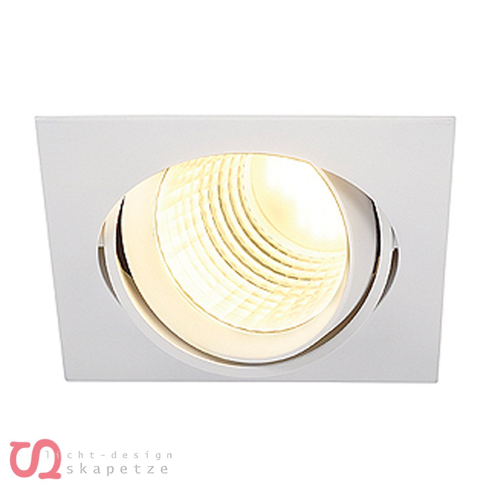 SLV New Tria Dlmi Square Downlight, 3000 K, 60 Grad, mattweiß 113701