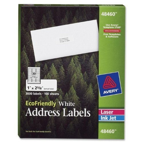 Avery White EcoFriendly Address Labels, 1 x 2.625 Inches, Box of 3000 (48460) by Avery (English Manual)