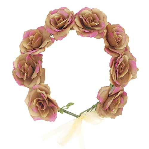 Dreamlily Women's Rose Flower Crown with Ribbon for Wedding Festival Hair Wreath BC092 (Brown)