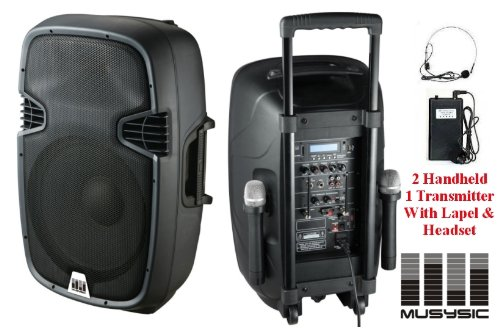 Musysic 1200W Professional Portable 12-Inch Speaker Pa System Dual Mic Wireless Rechargeable Battery