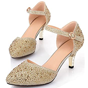 Littleboutique Vintage Mid-heel Metallic D¡¯Osay Pumps Bridesmaid Shoes Evening Dress Heels Wedding Shoes