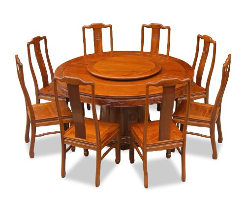 Round dining table for 8 save on 60 rosewood round for Oriental dining table