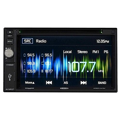 Jensen VX4022 2 DIN Multimedia Receiver, 6.2-Inch Touch Screen with Bluetooth, SiriusXM, HDMI/MHL, Selectable Colors and Built-in USB Port (Black)