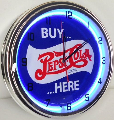 "Buy Pepsi Cola Here 15"" Neon Light Wall Clock Pop Shop Bar Vintage Style Garage Sign Blue front-730950"