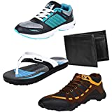 Bersache Men Combo Pack Of 4 Sports Shoe With Slipper & Wallet