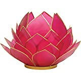 Luna Bazaar Full Bloom Capiz Lotus Candle Holder (4.5-Inch, Fuchsia Pink, Gold-Edged)
