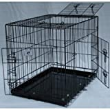 3 Door Suitcase Style Folding Metal Dog Crate with Metal Pan 36Lx24Wx26H