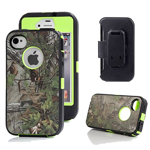 iPhone 4s Holster Case, Harsel® Defender Series Heavy Duty Tree Camo Shockproof Full Body High Impact Military w' Belt Clip Built-in Screen Protector Case Cover for iPhone 4s / iPhone 4 - Forest Green (Camo Iphone 4 Covers compare prices)