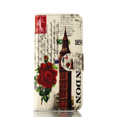 Images for Meaci Apple Iphone 5&5s Folio Case Fashion/retro Style Big Ben Postmark Pattern with Kickstand Credit Card Holder Id Holder Pu Leather Material Cover Magnetic Buckle (Big Ben)