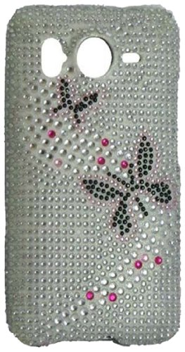 Qtech Qt-1334 Unique Dazzling Diamond Bling Case For Htc Inspire 4G - 1 Pack - Retail Packaging - Butterfly
