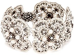 Miguel Ases Fresh Water Pearl and Sterling Silver Flower Bracelet