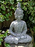 Serene Sitting BUDDHA Stone Effect Garden Sculpture Ornament