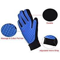 Newcomdigi Pet Grooming Glove Brush Mitt Deshedding Glove Tool Pet Hair Remover Pet Massage Glove Bathing Brush Comb for Long and Short Hair Dogs, Cats, Horses, Bunnies(Five Fingers, Blue)