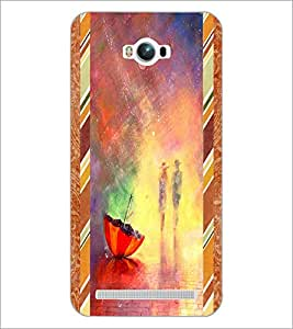 PrintDhaba painted Umbrella D-2689 Back Case Cover for ASUS ZENFONE MAX ZC550KL (2016) (Multi-Coloured)