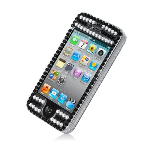 Ecell   BLACK WITH PINK CROWN BLING CASE COVER FOR IPHONE 4 4G