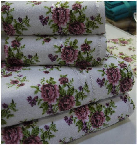 Stephanie White Floral Bath Sheet Towel Quality Cotton 500 gsm100x150 cm Large Soft Absorbent