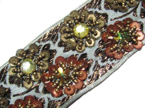 New 4.5 Yd Metallic Cream Base Trim Hand Beaded Ribbon Lace