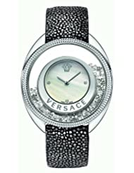 Versace Women's 86Q991MD497 S112 Floating Spheres in Glass Bezel Mother-Of-Pearl Dial Galuchat Leather Watch