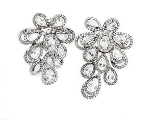 14k White Gold Diamond & White Topaz Earrings. ( 5.88 TCW ) 210-0051