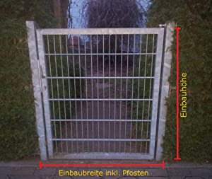 Gartentor Hoftor / Verzinkt / TorEinbauBreite 100 cm  TorEinbauHöhe 103 cm  Inklusive 2 Pfosten (60mm x 60mm) / Mattentor   Kundenbewertung und weitere Informationen