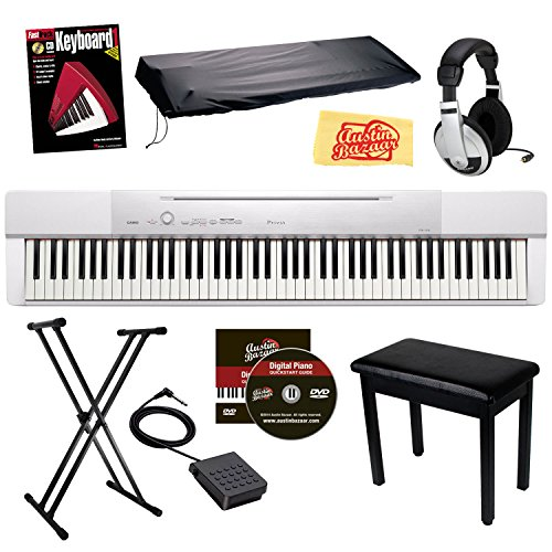 Casio Privia Px-150 88-Key Digital Piano Bundle With Gearlux Padded Flip-Top Bench, Gearlux Jx-51 Stand, Gearlux Dust Cover, Cherub Wtb-004 Sustain Pedal, Samson Hp-10 Headphones, Hal Leonard Instructional Book, And Austin Bazaar Polishing Cloth - White