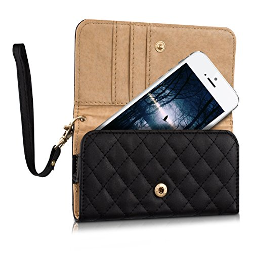 kwmobile-imitation-leather-case-for-Smartphones-hand-bag-clutch-with-quilted-pattern-and-cards-compartment-mobile-phone-case-in-black-eg-compatible-with-Samsung-Apple