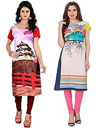 Marmic Fab Women's Pure Crepe Digitally Printed Semi-Stitched Kurtis (combo_kurti_18)(combo_pack_2_ Multicolored)