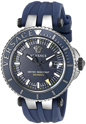 Versace-Mens-V-Race-Swiss-Quartz-Stainless-Steel-and-Silicone-Casual-Watch-ColorBlue-Model-VAK020016